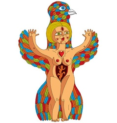bizarre creature nude woman with wings vector image