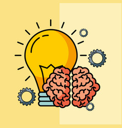 brain creative idea bulb innovation vector image