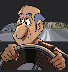 cartoon surprised man riding in the car while vector image