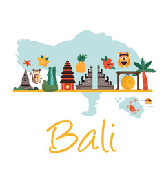 Cartoon with bali landmarks symbols vector