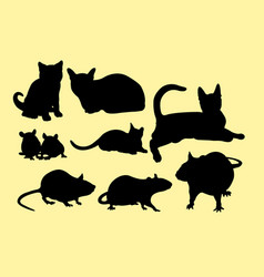 cat and mouse silhouettes vector image