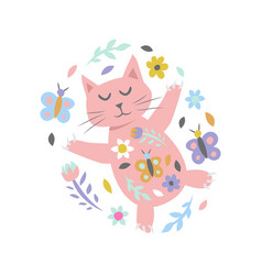 cat with flowers and butterflies on white vector image