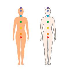 Chakras on female body vector