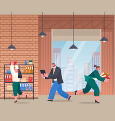 Chaos in office unorganized office workers vector