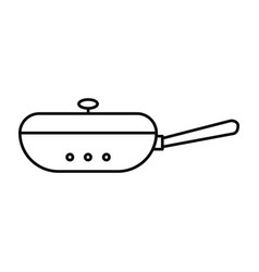 closed fry pan icon outline style vector image