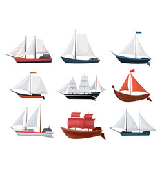 collection yachts sailboats or sailing ships vector image