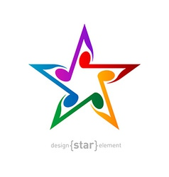 colorful Star with wavy notes on white background vector image