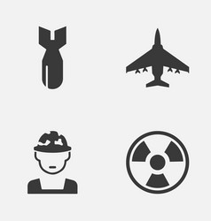Combat icons set collection of military vector