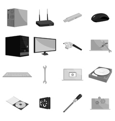 Computer hardware and technology icons set vector image