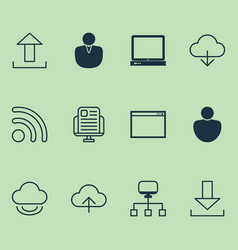 Connection icons set collection of user local vector