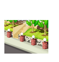 Cool park garden with lamp stairs and road cartoon vector
