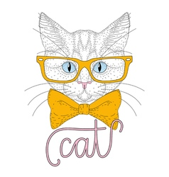 cute cat boy portrait with hipster glasses vector image