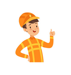 Cute firefighter character boy in the costume of vector