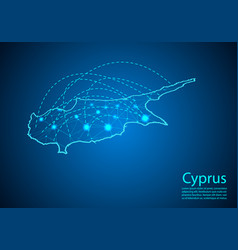 Cyprus map with nodes linked by lines concept of vector