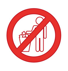 Denied to deposit garbage sign vector