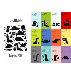 dinosaurs calendar 2019 design vector image