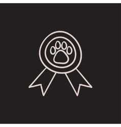 Dog award sketch icon vector image