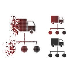 Dust pixel halftone lorry distribution scheme icon vector
