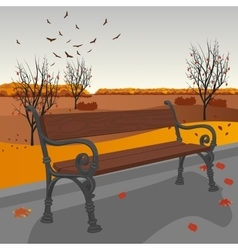 Empty wooden bench in city park in autumn vector