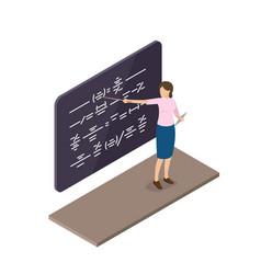 female teacher explains material near blackboard vector image