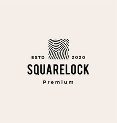 finger print square lock hipster vintage logo icon vector image