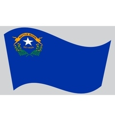 Flag of Nevada waving on gray background vector