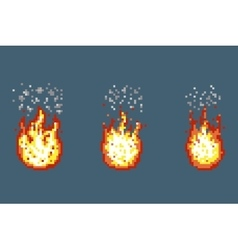 Flame with smoke animation frames in pixel art vector