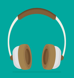 Flat brown headphones vector