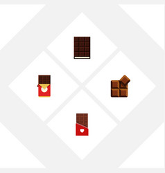 flat icon bitter set of cocoa dessert chocolate vector image