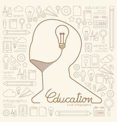 Flat linear Infographic Education Man Creative vector image