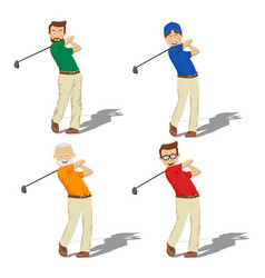 four golf male players of different ages vector image