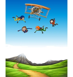 Four people doing sky diving vector image