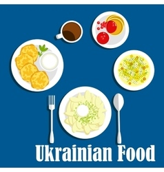 Fresh ukrainian cuisine vegetables and drink vector image