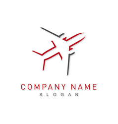 Grey and red plane logo vector