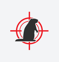 groundhog silhouette animal pest icon red target vector image