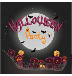 halloween background with crosses night pumpkins vector image