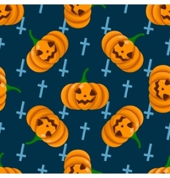 Halloween seamless pattern with pumpkins vector