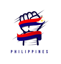 Hand and flag philippines template design vector