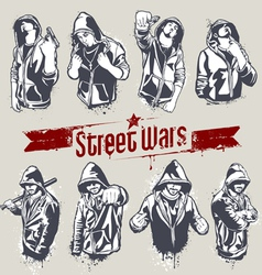 Hooded gangsters vector