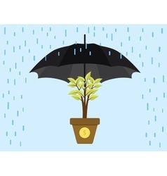 Investment invest protection umbrella protect vector
