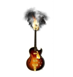 jazz guitar neck in the fire and smoke vector image
