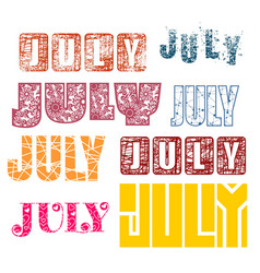 July word lettering vector