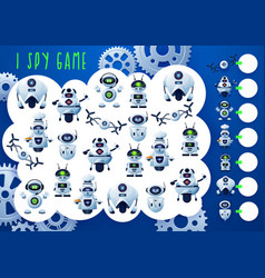 Kids game i spy with robots droids and drones vector