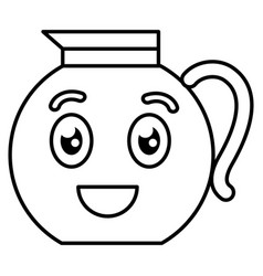 kitchen teapot kawai character vector image