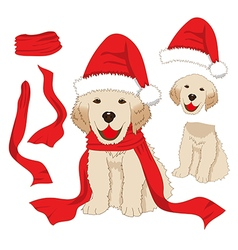 Labrador Retriever Christmas Day Santa Dog vector image