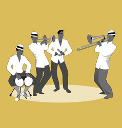 Latin band four latin musicians playing bongos vector