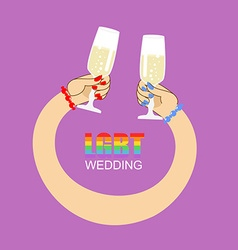 LGBT wedding Symbol of wedding of two women vector image