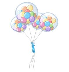 Little balloons in four big ones vector
