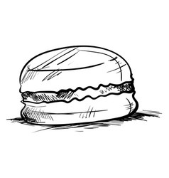 macaron drawing on white background vector image