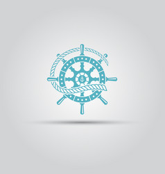 Marine helm wheel and rope isolated icon vector